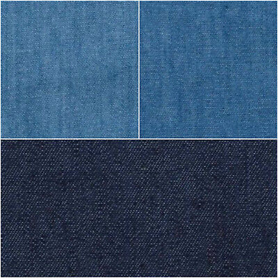 Lightweight Washed Plain 4oz Denim 100% Cotton Fabric Material 145cm