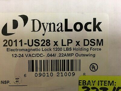 2011-US28 LP DSM Electromagnetic Lock 1200 LBS DynaLock 12-24 VAC DC Outswing