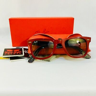 RAY-BAN Rare Prints Special Series Red Wayfarer Sunglasses RB 2140 1091/51