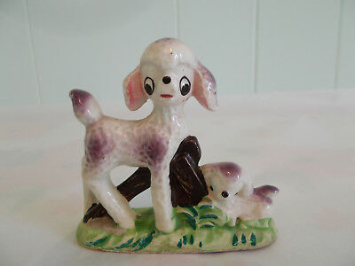 Vintage Super Cute Purple Poodle and Puppy Dog by Fence Doe Eye Figurine Figure
