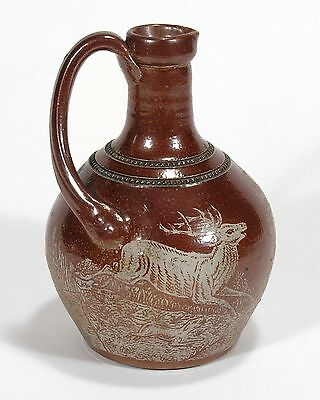 Charles Graham stoneware pottery rare salt glazed acid etched hunting scene jug