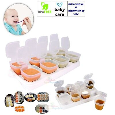 2 x 8 Baby Weaning Food Freezing Cubes Pots Freezer Storage Containers BPA Free