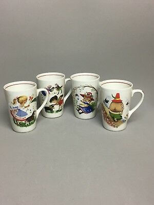 4 Set Nursery Rhyme Child Mugs Vintage Cup by Weatherby Hanley Royal Falcon Ware