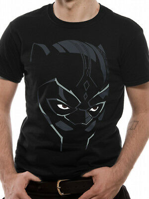 Black Panther Face Wakanda Official Marvel Comic Avengers Movie Mens T-shirt