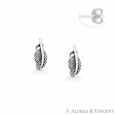 Plucked Bird's Wing Feather Charm Boho Stud Earrings .925 Sterling Silver Studs
