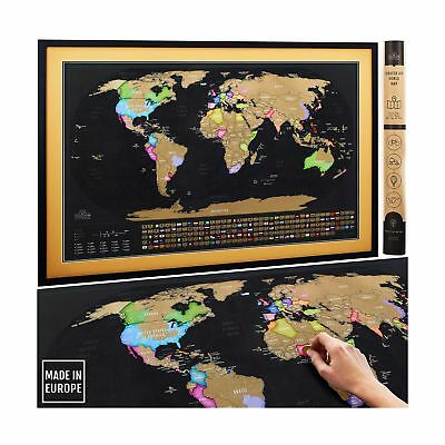 scratch off map of the world xl poster with us states and all country flags