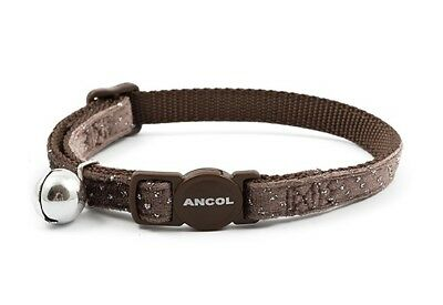 Ancol VELVET SPARKLE CAT COLLARS - (safety buckle & bell) Coffee=Red Navy