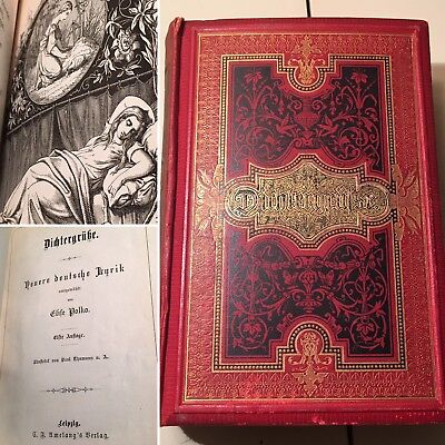 Antique Dirhtergrulse German Poetry Hardcover Book Artistic Illustrations 1800's