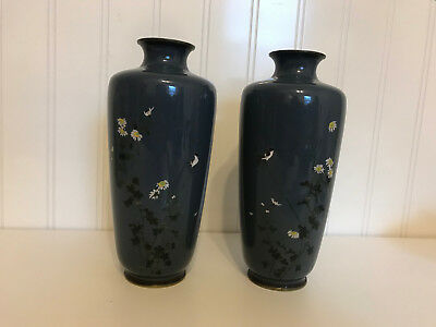 Vintage Possibly Antique Japanese Pair of Cloisonne Vases w/ Bird on a Tree Dec.