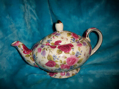 FORMALITIES BY BAUM BROS Summer Rose Teapot - Pink Red W/ Gold Trim ...