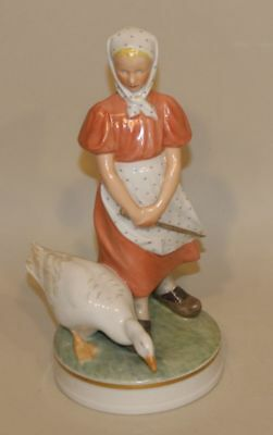 RARE Royal Copenhagen Christian Thomsen Overglaze Figurine Goose Girl 527