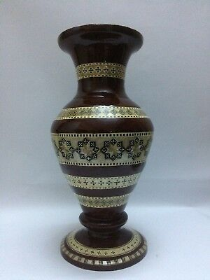 VINTAGE EGYPTIAN Decorative VASE Antique ANCIENT WOOD Handmade EGYPT 1965