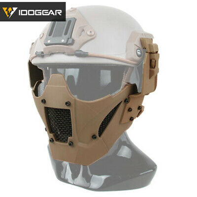 IDOGEAR JAY Mesh Airsoft Mask Paintball Half Face Mask Tactical Fit FAST Helmet