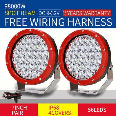 Pair 98000W 7inch Cree LED Driving Spot Work Light Offroad  Red lamp SUV 4X4 HID