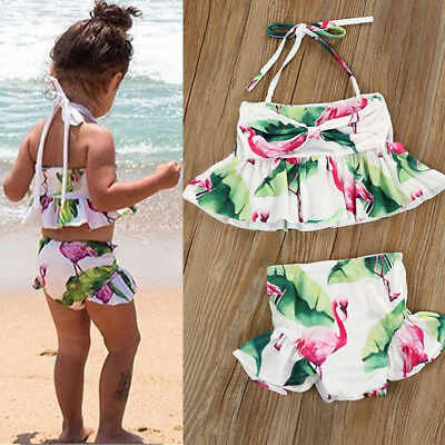UK Toddler Kid Baby Girls Floral Tankini Swimwear Swimsuit Bikini Set Bathing