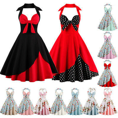 AU Womens Vintage Style 1950s 60s Rockabilly Party Prom Evening Swing Dress Plus
