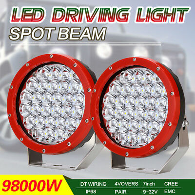 7inch 98000W Red Round CREE LED Driving Light Work Spotlight HID Offroad 4x4
