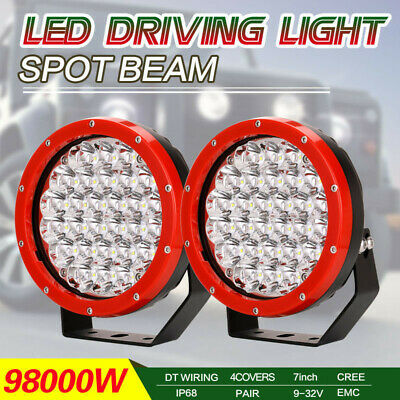 Pair 7inch 98000W LED CREE Driving Work Light Spotlight Red Offroad 4x4ATV Round