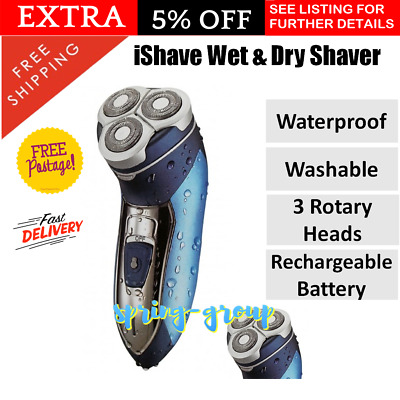 Mens Electric Shaver Wet Dry Cordless Rechargeable Waterproof Men Shave Face
