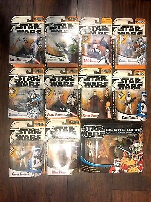 2003 Star Wars Clone Wars 11 Action Figures Animated Series Lot General Grievous