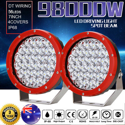 7inch 98000W CREE LED Spotlights Work Driving light Offroad 4x4 4WD HID lamp Red