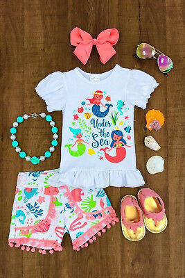 Tassels Kids Baby Girl Mermaid Top T-shirt Shorts Clothes Outfits Summer 1-6T UK