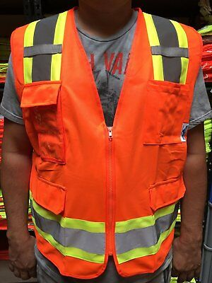 Surveyor Orange Vest , ANSI/ ISEA 107-2015/ Photo ID Pocket  SMALL to 2X-Large