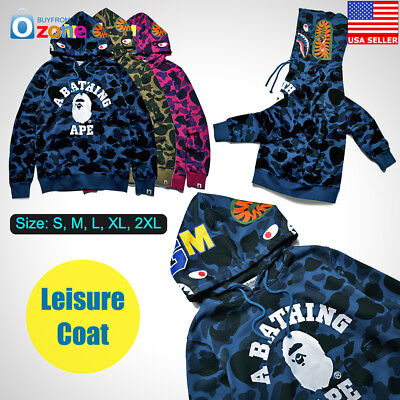 A Bathing Ape Bape Shark Head Camo Miltary Pullover Hoodie Sweatshirt Coat Mens