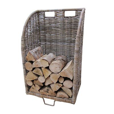 Grey & Buff Rattan Wicker Log Basket Trolley Large Storage Wood Fire Fireplace