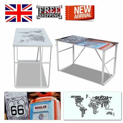 Unique Rectangular Desk Smooth Tempered Glass Surface Iron Legs Home Office New