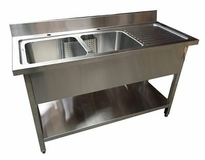 1400mm x 600mm COMMERCIAL STAINLESS STEEL RHD DOUBLE BOWL SINK WITH UNDER SHELF