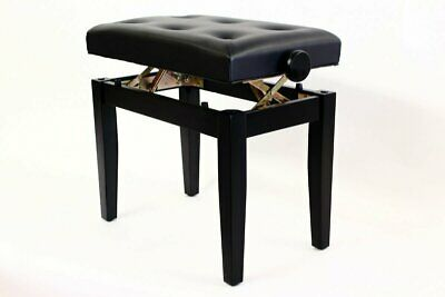 PRIMA Adjustable Piano Stool with Padded Button Seat - SATIN BLACK