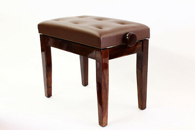 PRIMA Adjustable Piano Stool with Padded Button Seat - POLISHED WALNUT
