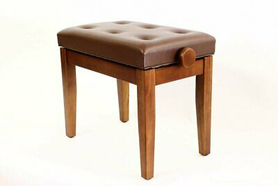 PRIMA Adjustable Piano Stool with Padded Button Seat - SATIN CHERRY