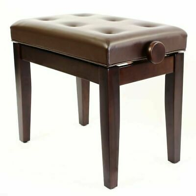 PRIMA Adjustable Piano Stool with Padded Button Seat - SATIN MAHOGANY