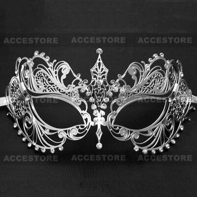 Charming Princess Laser Cut Venetian Masquerade Prom Dance Party Mask - Silver