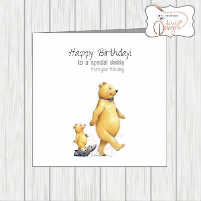Happy Birthday Daddy From Your Little Boy Card Baby Bear Walking In Dads Shoes