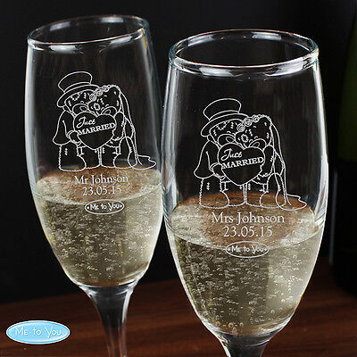 Personalised Wedding Pair of Flutes Bride Groom Couples Anniversary Gift Idea