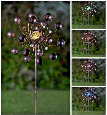 Solar Powered LED Bronze Wind Spinner Multi Colour Lights Garden Stake Decor