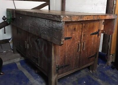 Vintage 5 Ft Old School Woodwork Bench With 2 X Parkinson S 15 Vices