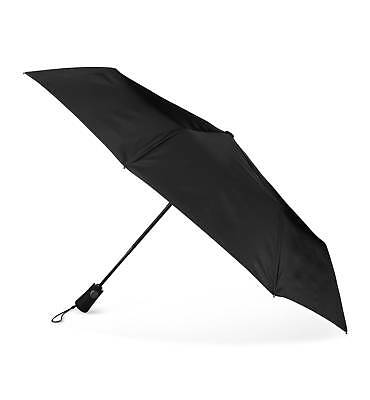 Nwt $95 Totes Auto Open Close Black Vented Canopy Compact Neverwet Umbrella Arc