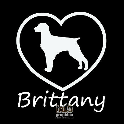 I Love My BRITTANY Spaniel Vinyl Sticker Decal AKC Registered Dog Breed Cat