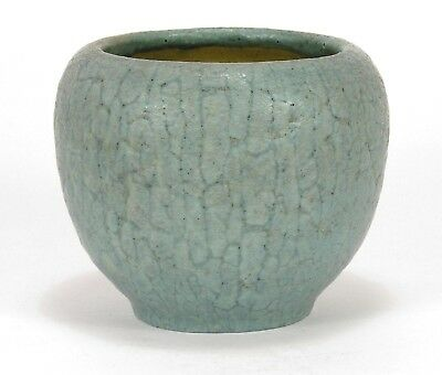 Grueby Pottery matte curdled blue green spherical vase Arts & Crafts Boston