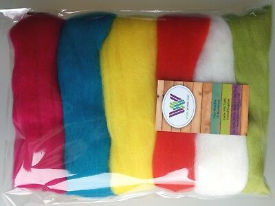 Bright set* Pure Wool Tops for Felting 6 Colours: White Yellow Red Green, 60g