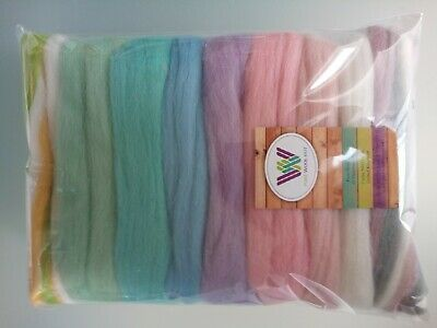 Baby Pastel set* Wool Tops for Felting: White Pink Yellow Green Blue; 90 grams