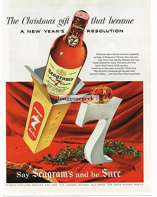 1955 SEAGRAM'S 7 Whiskey Christmas Gift Big Crowned Seven Vtg Print Ad