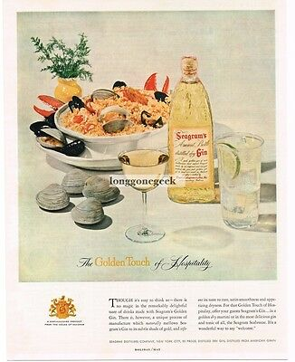 1955 SEAGRAM'S Golden Gin Steamed Clams Mussels Lobster Claws  Vtg Print Ad
