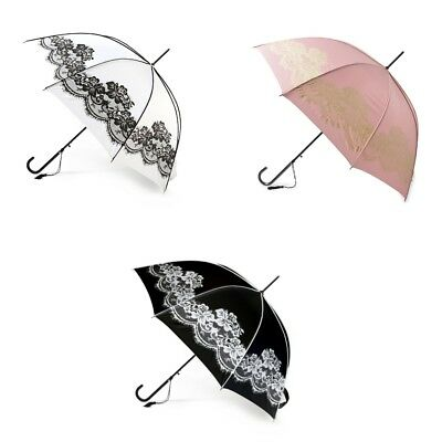 Boutique Vintage Printed Lace Umbrella in Black, White and Pink