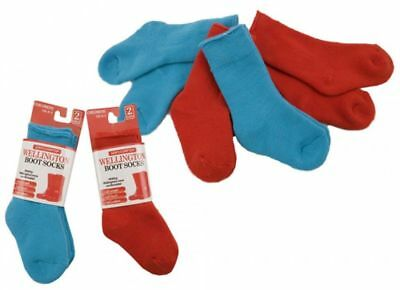 2 Pairs Babies Toddlers Children's Wellington Wellie Boot Blue Or Red Socks