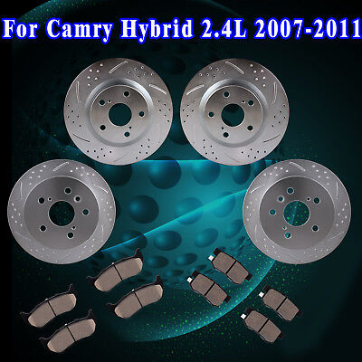 Front Rear Slot Brake Rotors And Pads 2007 09 2010 2017 Toyota Camry Hybrid 2 4l